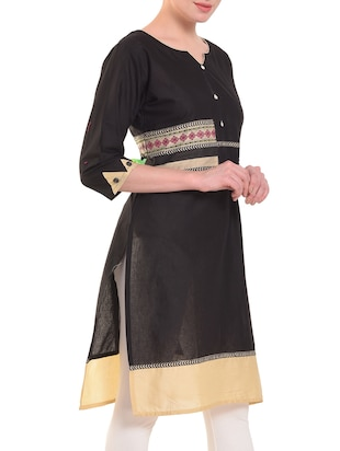 Straight patch work kurta - 15586314 - Standard Image - 2