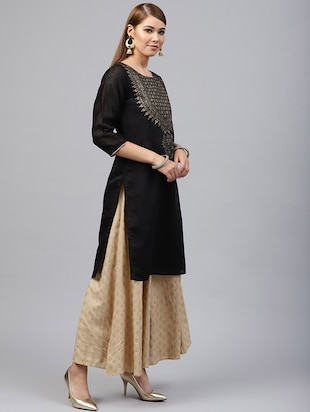 Foil printed chanderi kurta with palazzo set - 15586824 - Standard Image - 2
