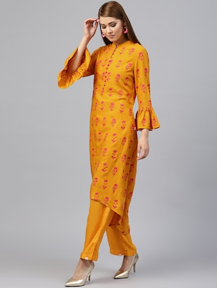 Floral bell sleeved kurta with palazzo set - 15586829 - Standard Image - 2