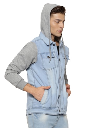 blue cotton casual jacket - 15590305 - Standard Image - 2