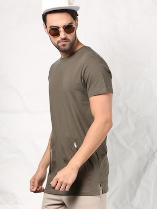 olive green cotton t-shirt - 15604856 - Standard Image - 2