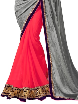 lace border half and half saree with blouse - 15606347 - Standard Image - 2