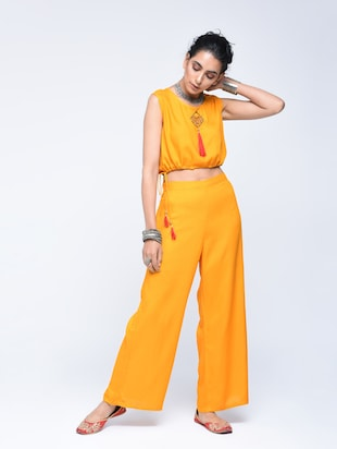 Bell sleeved chanderi top pant with shrug set - 15606723 - Standard Image - 5