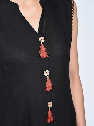 A-line pocket kurta with tassels - 15606724 - Standard Image - 5