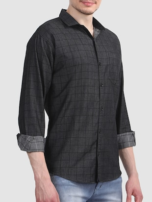 black cotton casual shirt - 15607407 - Standard Image - 2