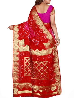 Zari bordered bandhani saree with blouse - 15607515 - Standard Image - 2