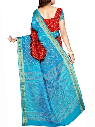Zari bordered bandhani saree with blouse - 15607554 - Standard Image - 2