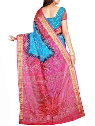 Zari bordered bandhani saree with blouse - 15607557 - Standard Image - 2