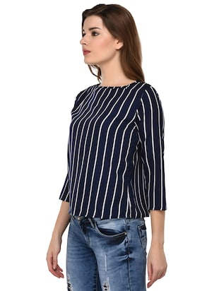 round neck striped top - 15607675 - Standard Image - 2