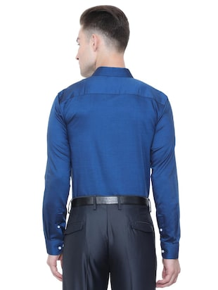 blue cotton formal shirt - 15608660 - Standard Image - 2