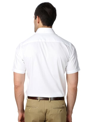 white cotton blend formal shirt - 15608686 - Standard Image - 2