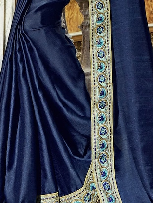 Midnight blue  bordered saree with blouse - 15608824 - Standard Image - 2