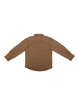 brown cotton blend shirt - 15608885 - Standard Image - 2