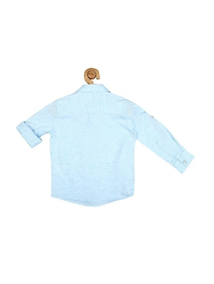 blue cotton blend shirt - 15609027 - Standard Image - 2