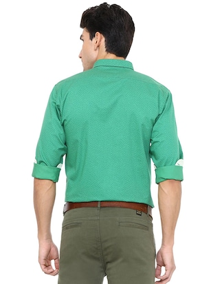 green cotton casual shirt - 15609302 - Standard Image - 2