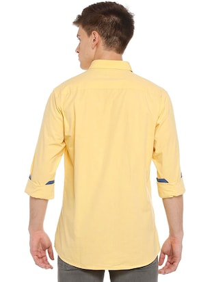 yellow cotton casual shirt - 15609334 - Standard Image - 2