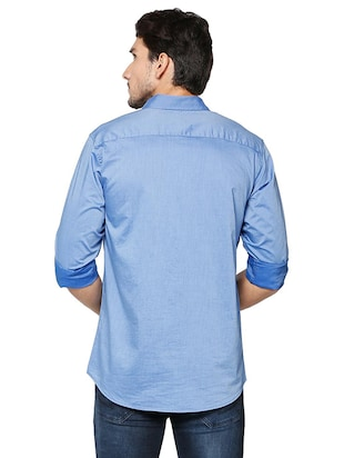 blue cotton casual shirt - 15609396 - Standard Image - 2