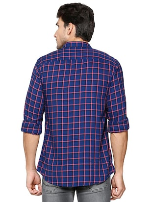 blue polyester blend casual shirt - 15609403 - Standard Image - 2