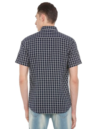 blue cotton casual shirt - 15609417 - Standard Image - 2