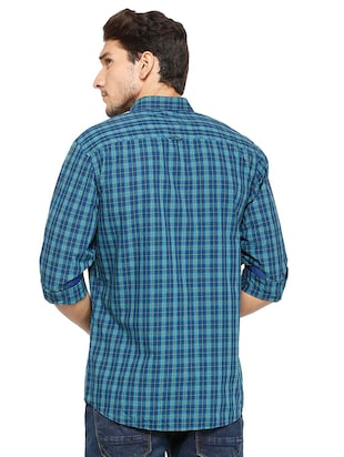 blue cotton casual shirt - 15609446 - Standard Image - 2