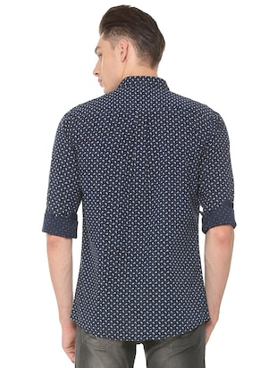 navy blue cotton casual shirt - 15609451 - Standard Image - 2