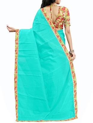 floral lace border saree with blouse - 15610786 - Standard Image - 2
