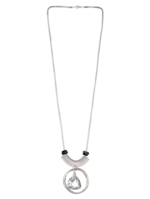silver metal long necklace - 15611139 - Standard Image - 2