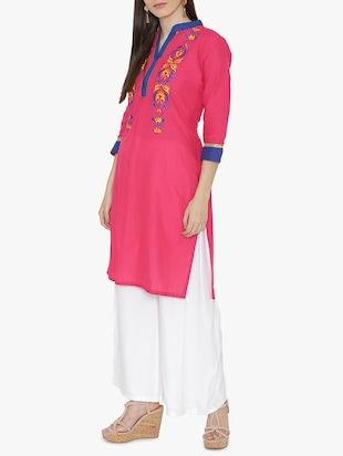 Embroidered straight kurta - 15611369 - Standard Image - 2