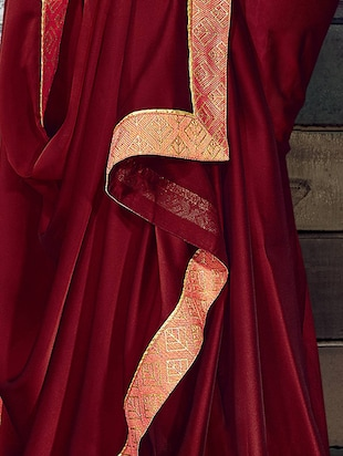 Zari lace bordered saree with blouse - 15611551 - Standard Image - 2