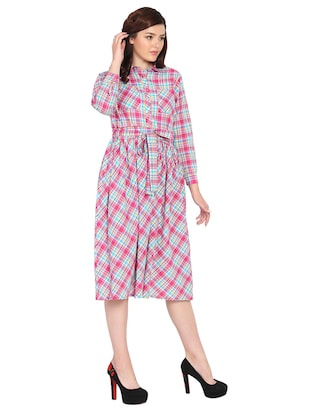 pocket patch checkered fit and flare dress - 15611722 - Standard Image - 2