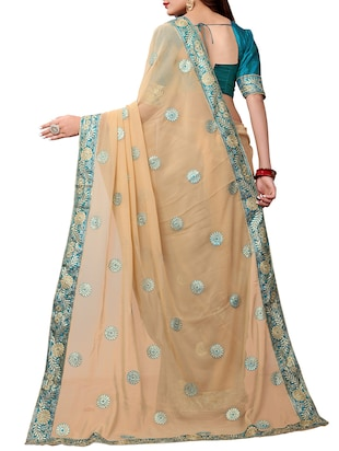 floral embroidered saree with blouse - 15611731 - Standard Image - 2
