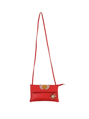 red leatherette (pu) regular sling bag - 15611744 - Standard Image - 5