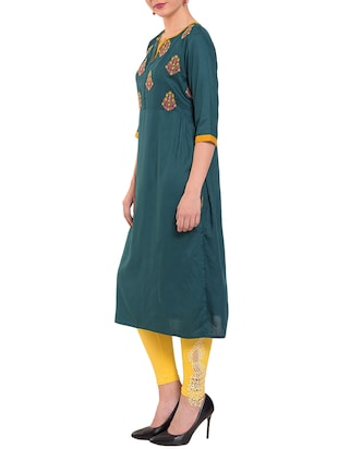 Teal embroidered straight kurta - 15612051 - Standard Image - 2