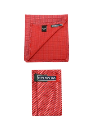red microfiber tie with pocketsquare - 15612092 - Standard Image - 2