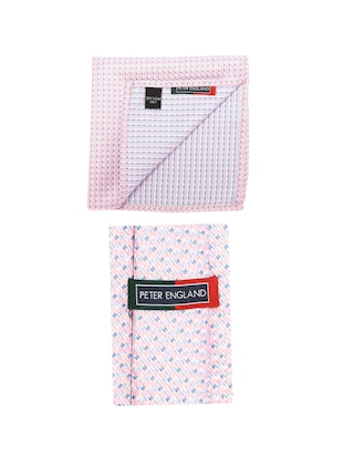 pink microfiber tie with pocketsquare - 15612116 - Standard Image - 2