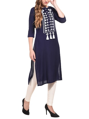 Embroidered straight kurta with tassels - 15612127 - Standard Image - 2
