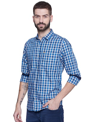 blue cotton casual shirt - 15612309 - Standard Image - 2