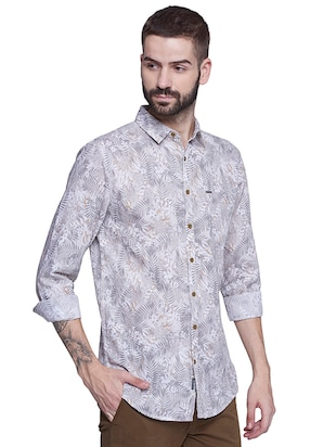 grey cotton casual shirt - 15612313 - Standard Image - 2