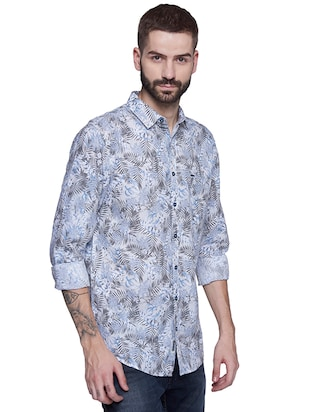 blue cotton casual shirt - 15612314 - Standard Image - 2