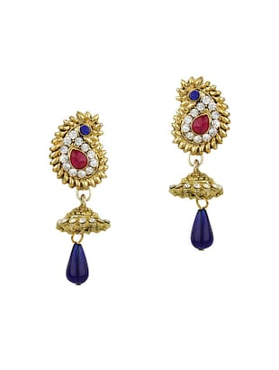 purple Gold Tone Necklace & Earrings Set - 15612553 - Standard Image - 2