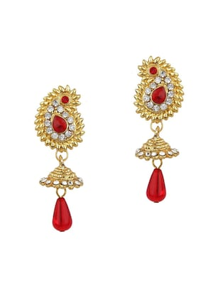Red Gold Tone Necklace & Earrings Set - 15612554 - Standard Image - 2