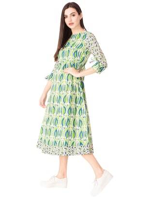 Printed a-line dress - 15612649 - Standard Image - 2