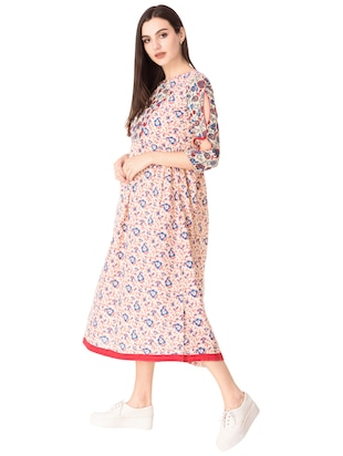 Flared printed slit sleeves dress - 15612651 - Standard Image - 2