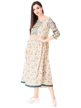 Flared printed slit sleeves dress - 15612652 - Standard Image - 2