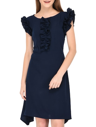 navy blue frill detail asymmetric dress - 15612875 - Standard Image - 2
