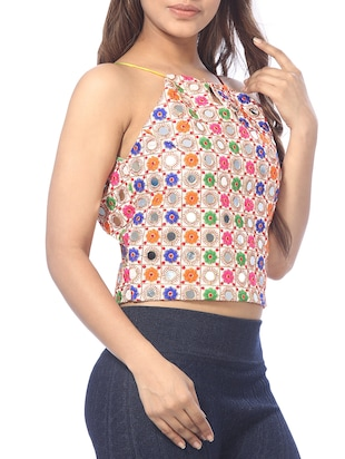 Key hole neck mirror work crop top - 15613023 - Standard Image - 2