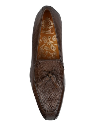 brown Leather tassel slip ons - 15613245 - Standard Image - 5