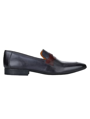 navy Leather formal slip ons - 15613250 - Standard Image - 2