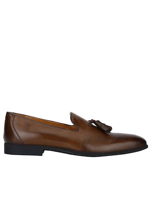 tan Leather formal slip ons - 15613257 - Standard Image - 2