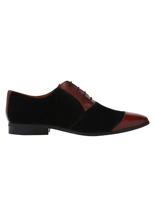 black Leather lace-up oxfords - 15613345 - Standard Image - 2